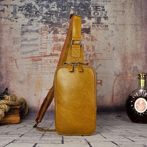 Men Real Leather 9/'/' Sling Shoulder Backpack Chest Day Pack Crossbody Travel Bag