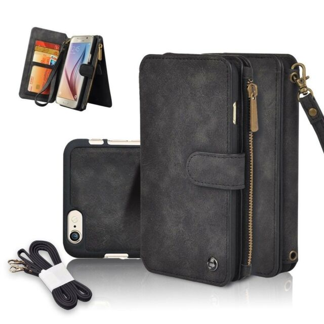 new style f4282 2f787 Genuine Leather Zipper Wallet Multifunction Cover Case For iPhone X 6 7 8  Plus