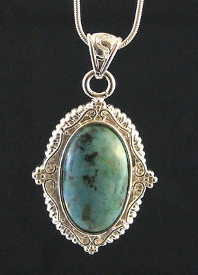 African Turquoise pendant necklace natural stone healing + FREE Snake Chain Gift