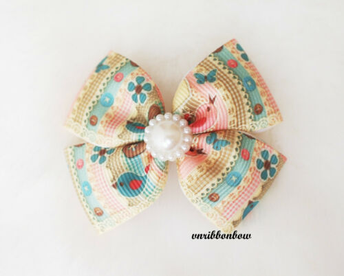SUMMER THEME Handmade Girl Hair Accessories Four Wings Ribbon Bows Clips Bobbles