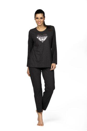 Comtessa night day Single Jersey Pyjama Schlafanzug dunkelgrau melange NEU
