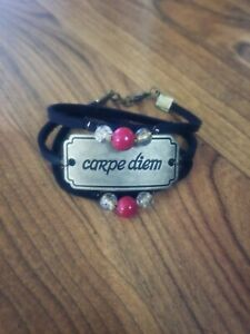 womens-handmade-034-carpe-diem-034-red-yellow-beads-on-black-leather-bracelet-wrap