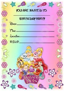 a5 disney kids childrens party invitations x 12 palace pets