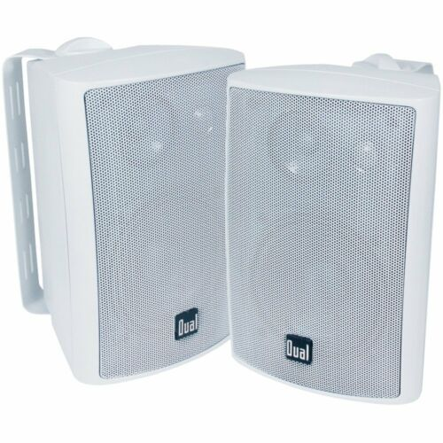 2 NEW Indoor Outdoor White Speakers.Pair.Event Party.Weather Resistant.w//mounts