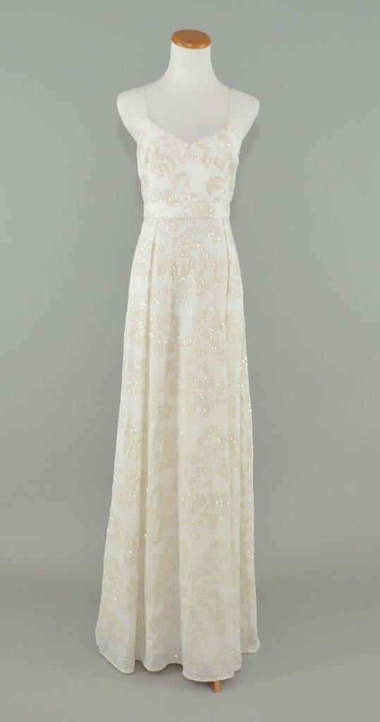 J.CREW ,200 SEQUIN PLUME WEDDING BALL GOWN 4 IVORY BEADED LONG DRESS C1227