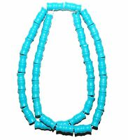 """T327f Blue Turquoise 12x6 Carved Bamboo Tube Magnesite Gemstone Beads 16"""""""