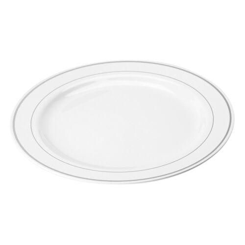 """Plastique Blanc Plaques 10/"""" extra forte AVEC ARGENT JANTE Pack De 20"""