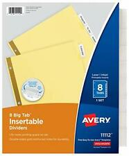 Avery 8 Tab Binder Dividers Insertable Clear Big Tabs Durable Paper 1 Set New