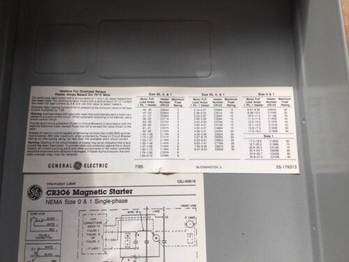 GENERAL ELECTRIC MAGNETIC STARTER CR306J102 2 Poles 1 Overload