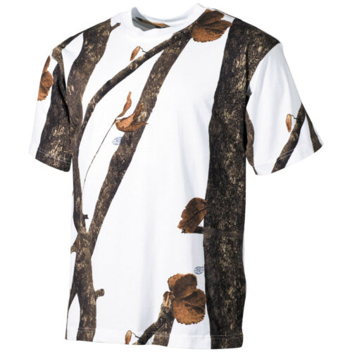 Army Tactical Hunting Trapper T-Shirt 100/% Cotton Winter Hunter Snow Camouflage