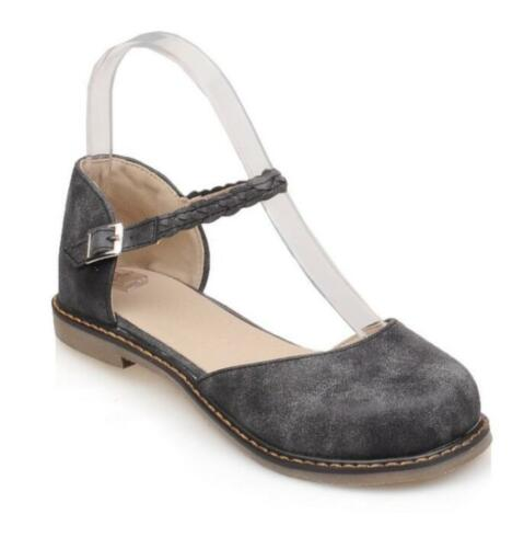 Womens Sz35-43 Retro Mary Janes Round Toe Ankle Strap Vintage Flat Heel Shoes