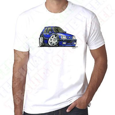 WickedArtz Cartoon Black PUG 205 Car Mens 100/% Cotton White T-Shirt