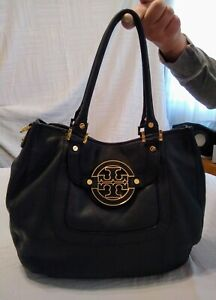 TORY-BURCH-Amanda-Black-Pebbled-Leather-Buttery-Soft-Hobo-Handbag-Gold-Hardware