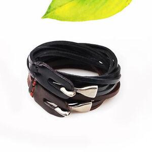 Fashion-Men-Black-Brown-Leather-Silver-Hook-Clasp-Adjustable-Bracelet-Bangle