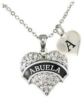 Custom Abuela Crystal Heart Silver Necklace Jewelry Gift Choose Initial Charm