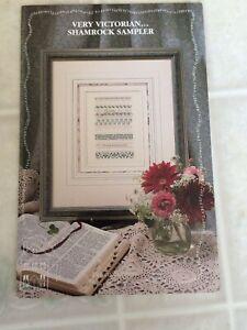 1991-The-Sampler-House-Cross-Stitch-Leaflet-Very-Victorian-Shamrock-Sampler