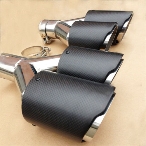 2PC 63mm 89mm Stainless Steel Car Exhaust Tip Carbon Exhaust Muffler Dual Tips