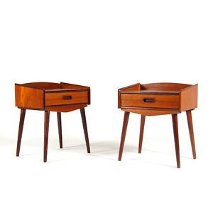 Pair-Retro-Vintage-Danish-Teak-Bedside-Tables-Cabinets-Drawers-Scandinavian-70s