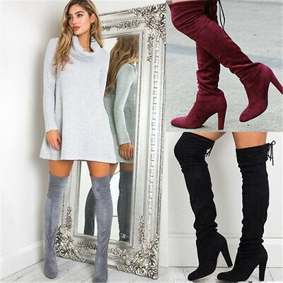 New Ladies Womens Over The Knee Boots Shoes Block High Heel Lace Thigh Boots