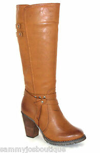 womens brown or black knee high heeled boots