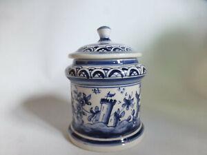 Kleine-Dose-creme-blau-bemalt-Real-Ceramica-Coimbra-Portugal-handbemalt