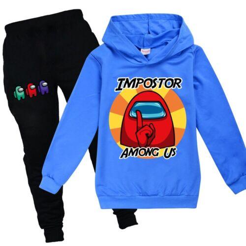 Among Us Impostor Kids Langarm Hoodie Hoodie Sweater Pants Trainingsanzug Set
