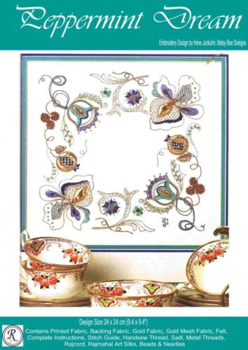 Peppermint Dream embroidery kit Rajmahal art silk thread Irene Junkuhn