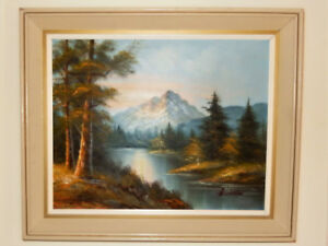 G-Whitman-oil-painting-signed-original-River-and-Mountain-Excellent-Cond