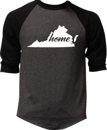 Men/'s Home Virginia Map Charcoal Baseball Raglan Tee Shirt State Hometown V334
