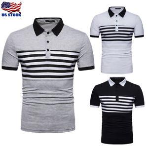 1a150da40fa2 Men s Casual Slim Fit Polo Shirt Tee Short Sleeve Summer Stylish T ...