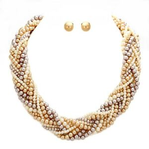 Uniklook-Elegant-Chic-Brown-Simulated-Pearl-Braided-Chunky-Necklace-Earrings-Set