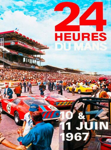 1967 24 Hours Le Mans French Automobile Race Advertisement Vintage Poster 3
