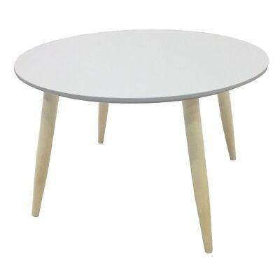 Mesa de centro o auxiliar redonda estilo retro color blanco mate 58x35x58cm
