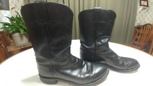 Justin-Men-039-s-Black-Leather-Roper-Boots-3133-Size-9D-Wide-made-in-USA