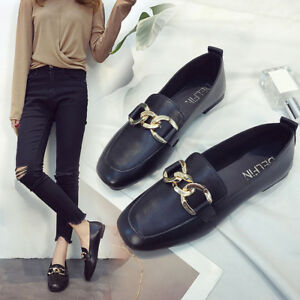 Fashion-Women-039-s-Leather-Shoes-Casual-Ballet-Slip-On-Flats-Loafers-Single-Shoes