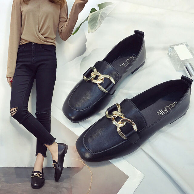 Fashion Women Leather Shoes Casual Ballet Slip On Flats Loafers Single Shoes CA
