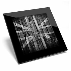 Glass Coaster BW - Wooden Effect Union Jack UK Flag  #40996