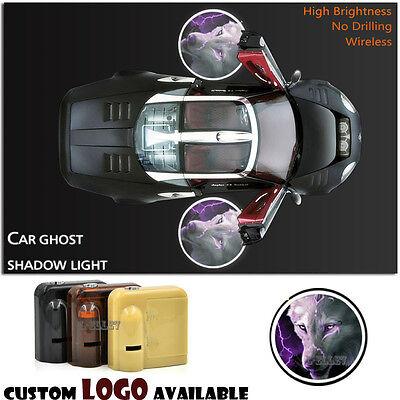 2X Car Laser Wireless sensor Door Angry Wolf Logo Courtesy Ghost Shadow Light