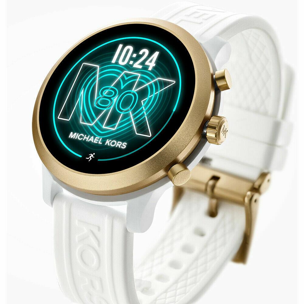 NEW MICHAEL KORS ACCESS MKGO Gold Aluminum White Silicone Touchscreen Smartwatch access aluminum Featured gold kors michael mkgo new silicone touchscreen white