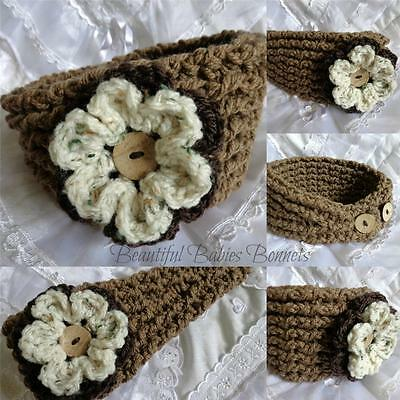 CROCHET PATTERN for Ladies Thick n Chunky Ribbed Flower Ear Warmer/Headband #48