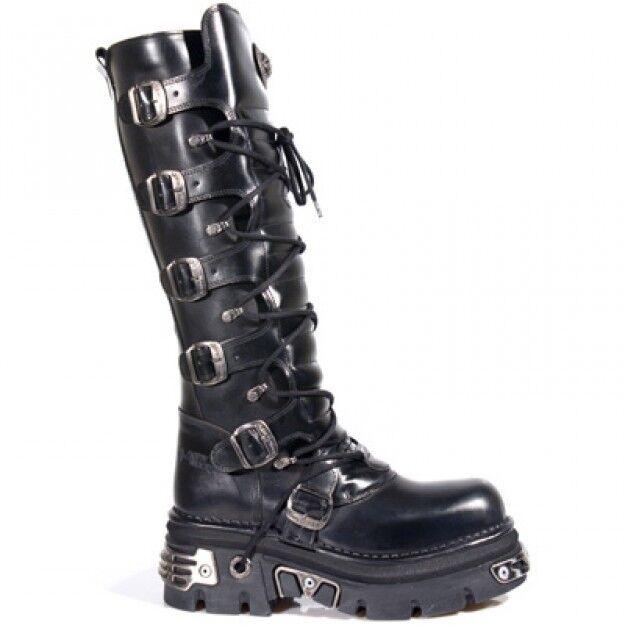 Newrock New Rock 272 Negro Metalizado Goth botas Hasta La Rodilla Cremallera Cuero Hebilla