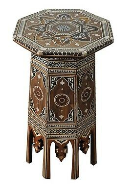 "28"" Tall Ottoman Turkish Mother of Pearl Inlay Wood Coffee Side Table"
