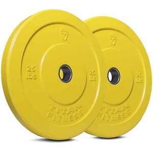Titan-Fitness-Pair-25lb-Olympic-Bumper-Plate-Yellow-Benchpress-Strength-Training