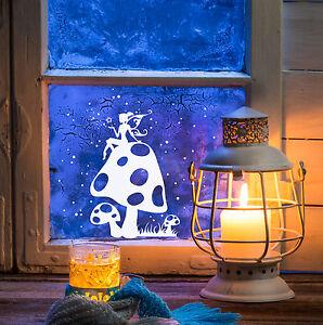 Fensterdeko Fensterbild Elfe Fee Fliegenpilz Sterne Weihnachten