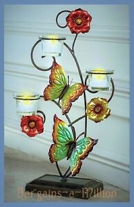 Metal-Butterfly-Flowers-Tealight-Candle-Holder-Tabletop-Stand-18-034-H
