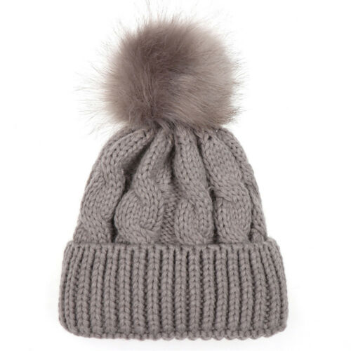Toddler Kids Baby Boys Girls Hat Winter Warm Fur Pom Beanie Wool Hemming Hat Cap