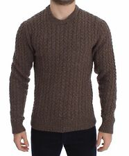 NWT $640 DOLCE & GABBANA Brown Knitted Wool Crewneck Sweater Pullover IT52 / L