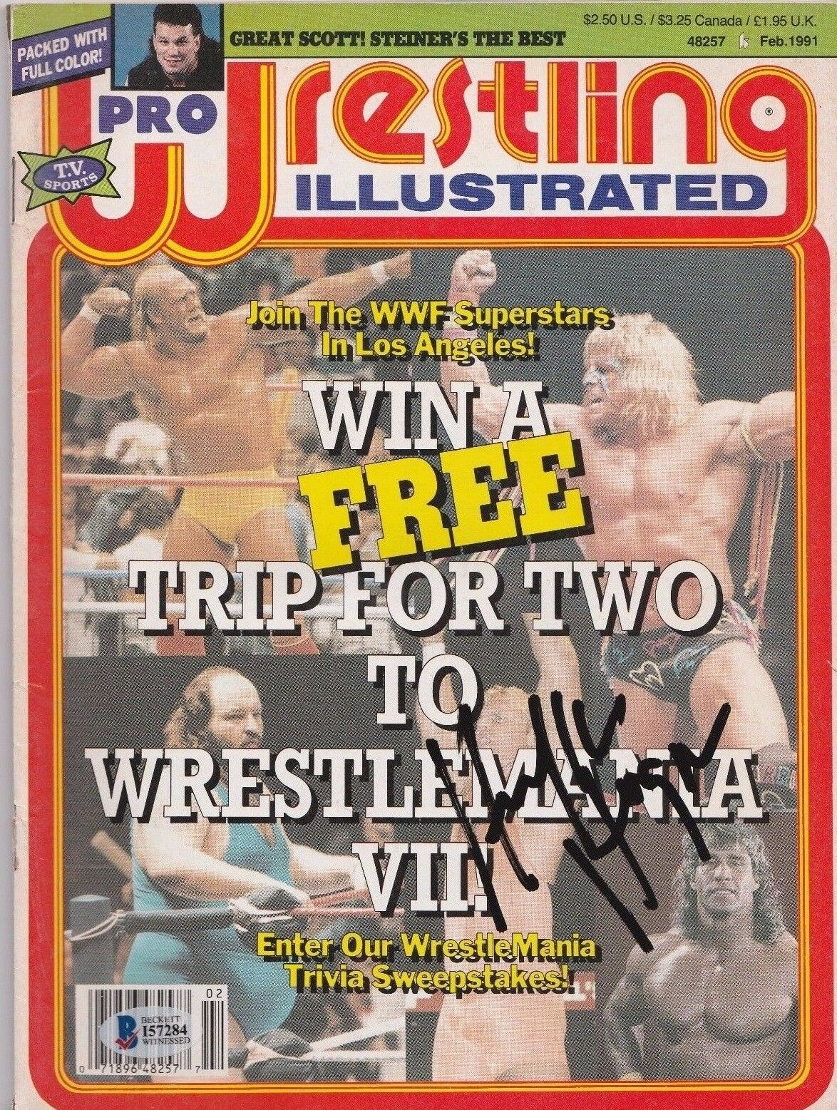 Hulk Hogan Signed 1991 Pro Wrestling Illustrated Magazine Beckett BAS