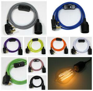 Tissu Câble Flexible Branchez Pendentif Lampe Set Montage & E27 Ampoule Vintage-afficher Le Titre D'origine Utilisation Durable
