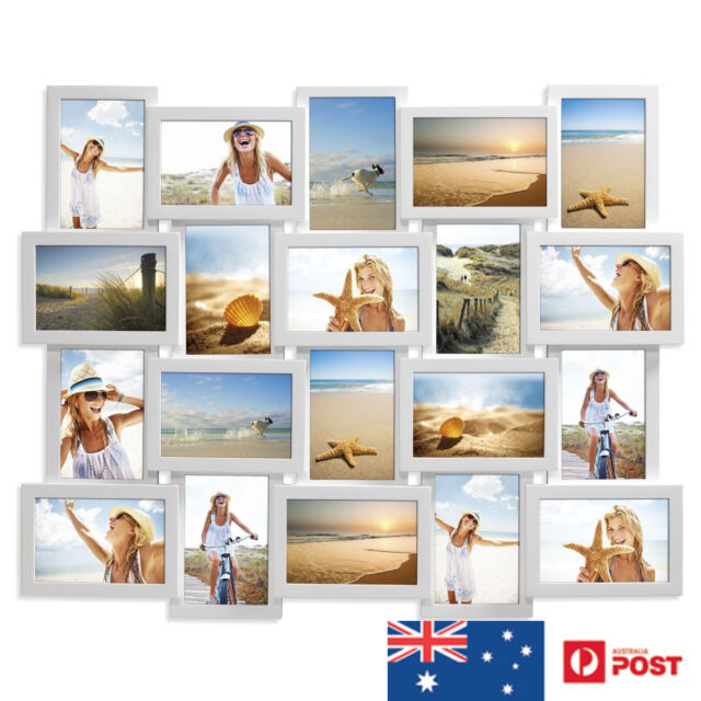 UniGift 20 in 1 Wooden Collage Photo Frame White Feature Wall Decor ...